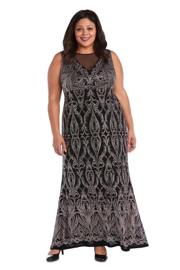 Sheer Insert Glitter Placement Slinky Dress - Plus - Black / Gold - Front