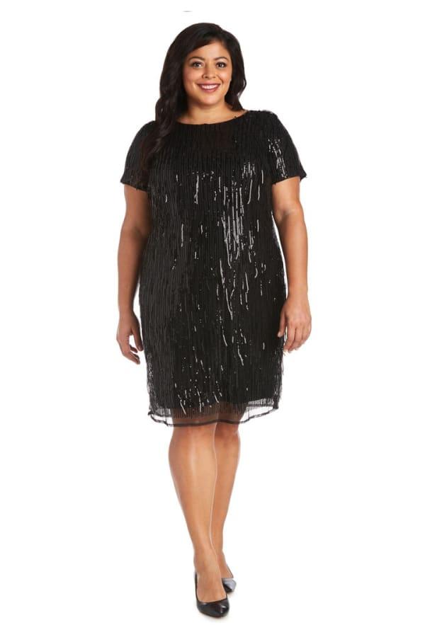 Plus One Piece Short Sequin Shimmy Dress - Black - Front