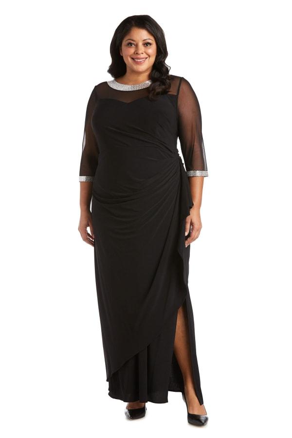 Rhinestone Neck and Sleeve Detailed Sheer Illusion Dress - Plus