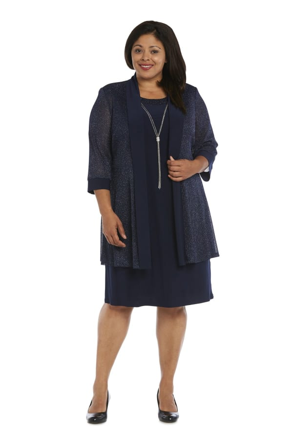 Sleeve Two Piece Jacket and Dress Set with Metallic Detail - Plus