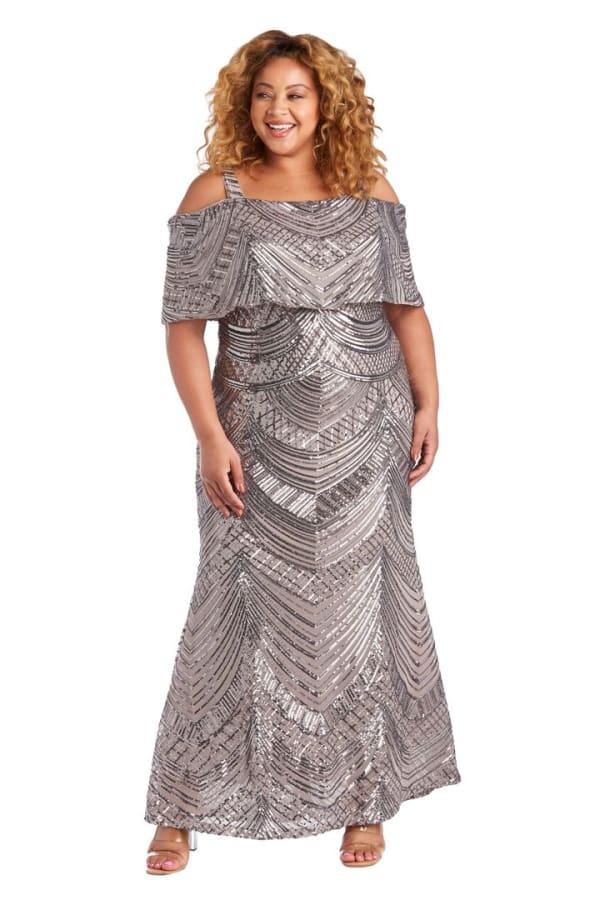 Plus All Over Beaded Swirl Pattern Off The Shoulder Caplet Mermaid Dress - Mocha - Front