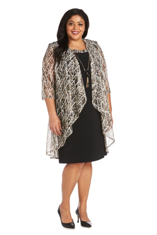 Plus Puff Print Swing Jacket Dress