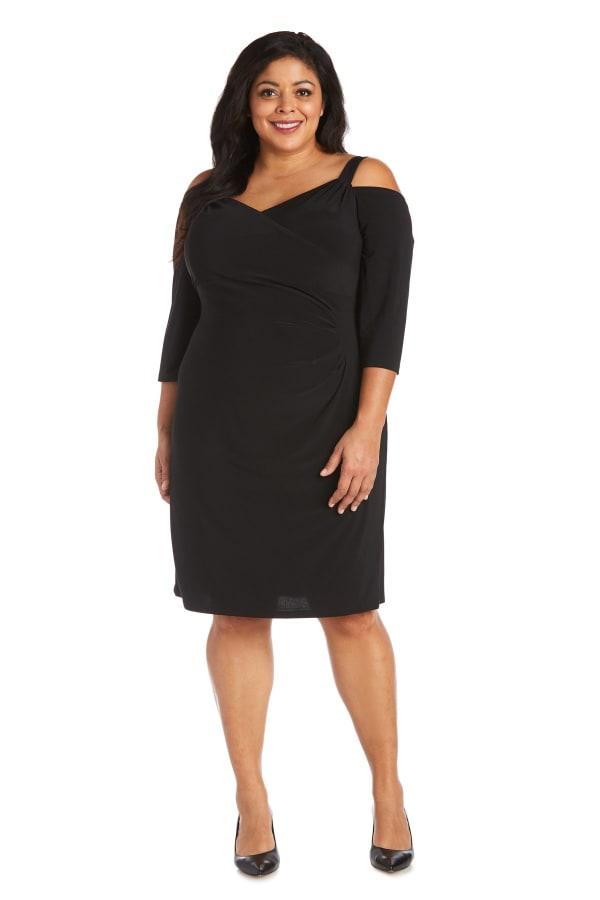Plus Cold Shoulder Short Dress - Black - Front