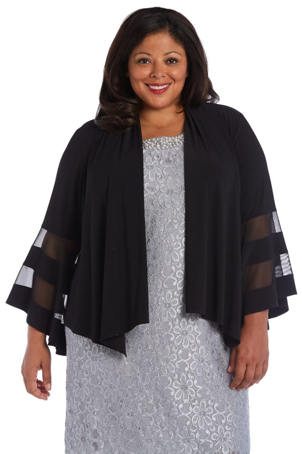 Draped, Open Jacket with Full Sleeves and Sheer Inserts - Plus - Black - Front