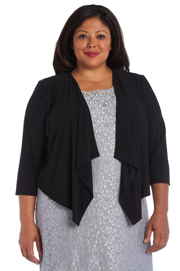 Draped, Open Jacket with Sheer Back Panels and 3/4 Sleeves - Plus - Black - Front