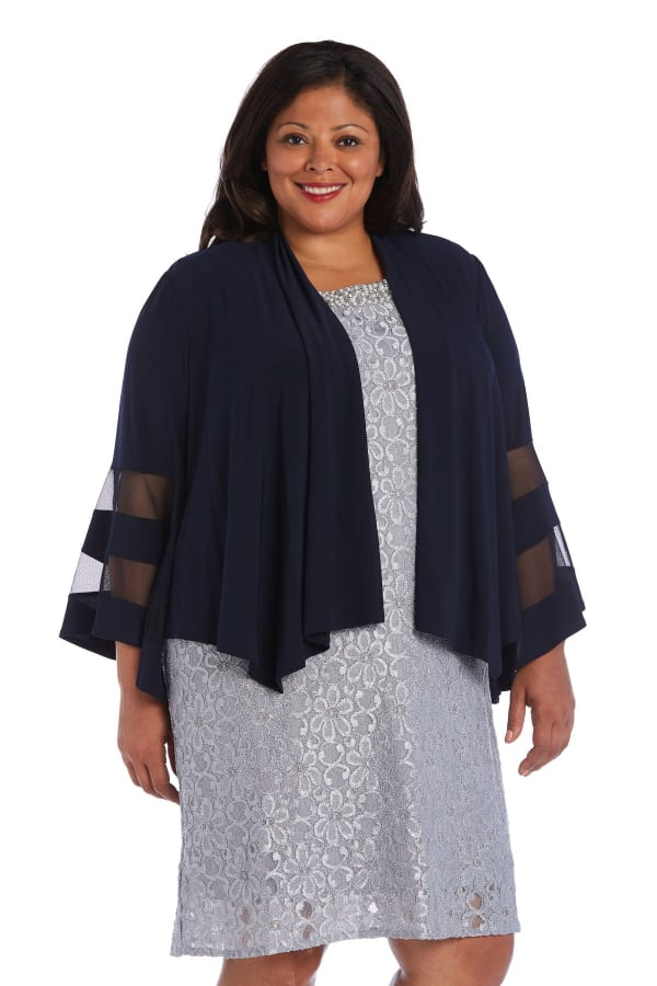 Draped, Open Jacket with Full Sleeves and Sheer Inserts - Plus - Navy - Front