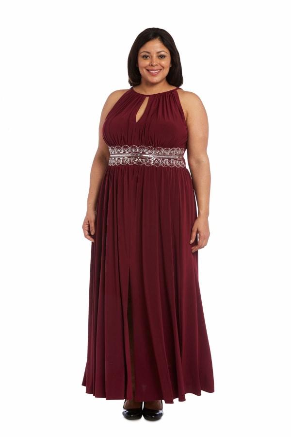Maxi Dress with Embellishment - Plus - Merlot - Front