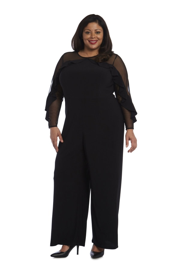 Long-Sleeved Jumpsuit with Sheer Panels and Ruffles - Plus - Black - Front