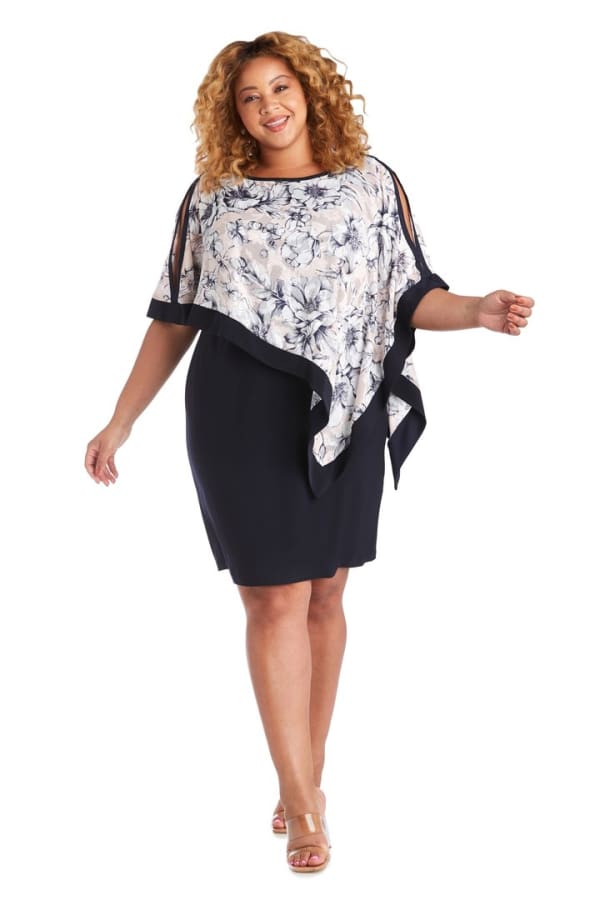 Plus One Piece Banded Poncho Dress - Blush / Navy - Front