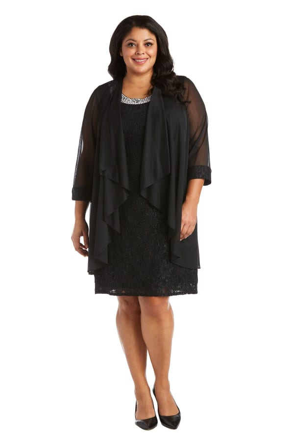 Beaded Lace Neckline with Cascade Jacket - Plus - Black - Front
