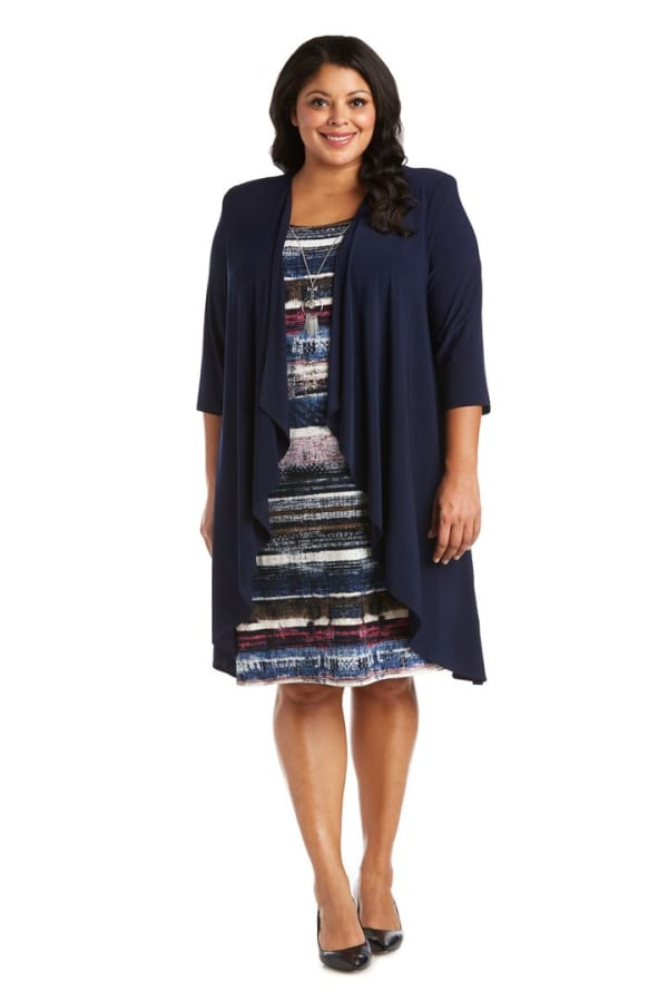 Plus Flyaway Knit Jacket Dress with Multi-Striped Dress and Necklace - Denim - Front