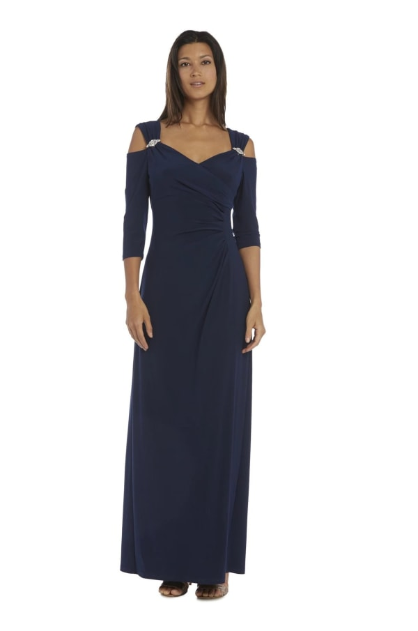 Column Evening Gown with Shoulder Cutouts and Diamante Embellishments - Navy - Front