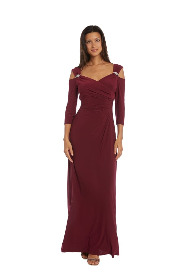 Column Evening Gown with Shoulder Cutouts and Diamante Embellishments - Merlot - Front