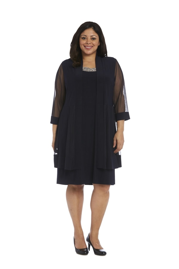 Plus Knee-Length Dress with Beaded Neckline aDnd Soft Jacket with Sheer Sleeves - Navy - Front