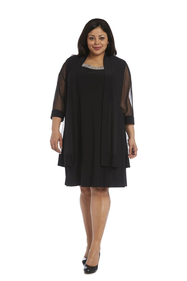 Plus Knee-Length Dress with Beaded Neckline aDnd Soft Jacket with Sheer Sleeves - Black - Front