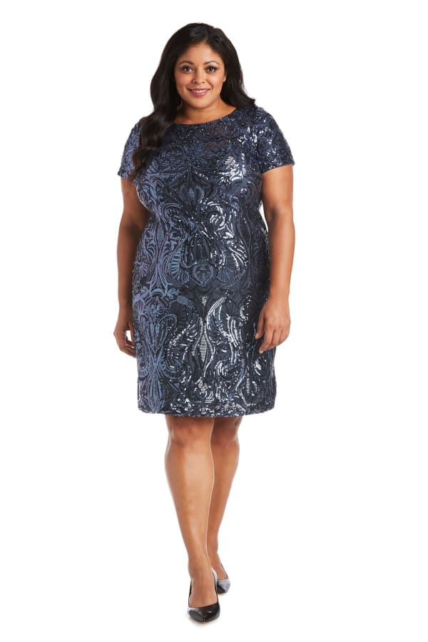 Sequin Short Sleeve Dress - Plus
