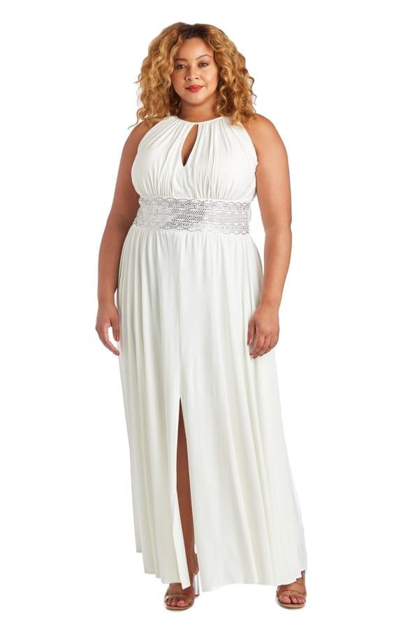 Sleeveless Maxi Dress with Embellished Waist Band and Keyhole Cutout - Plus