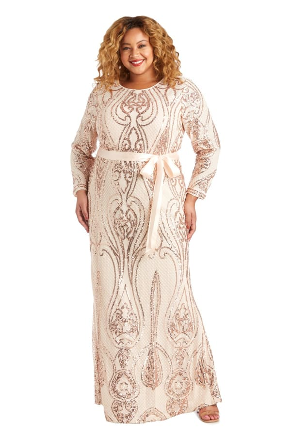 Long-Sleeved Evening Gown with Sequins, Satin Sash and Cutout Back - Plus - Champagne - Front