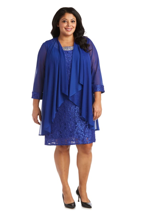 Beaded Lace Neckline with Cascade Jacket - Plus - Royal Blue - Front