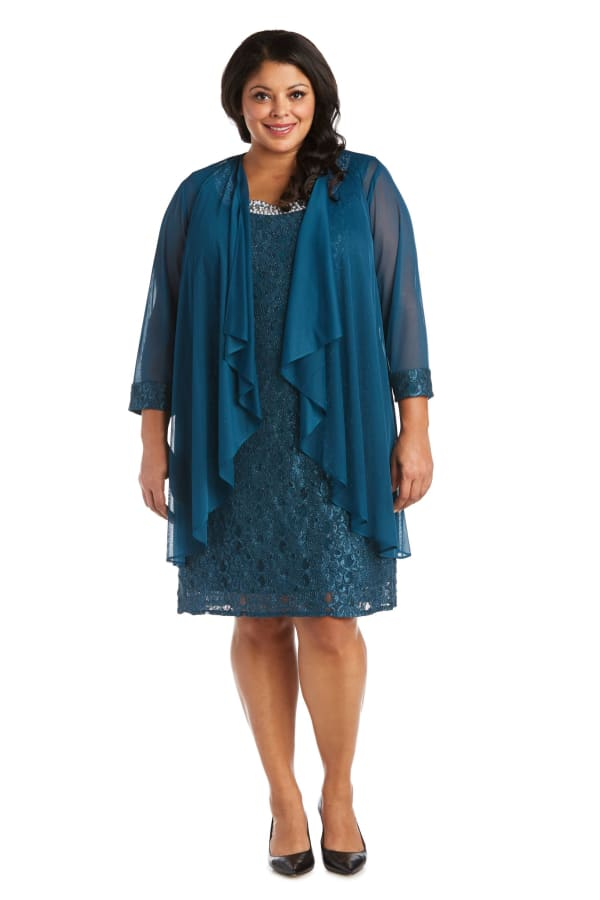 Beaded Lace Neckline with Cascade Jacket - Plus