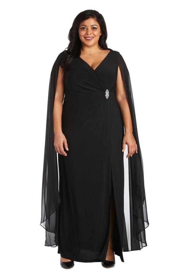 Plus Chiffon Duster Cape Surplice Wrap Dress