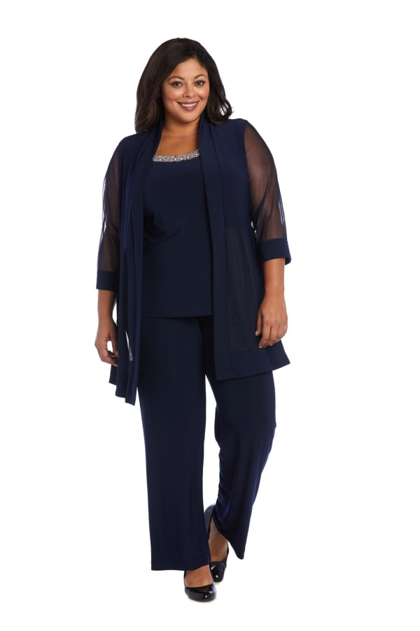 Plus Faux Three-Piece Pant Suit with Sheer Inserts, Beading and Diamante - Navy - Front
