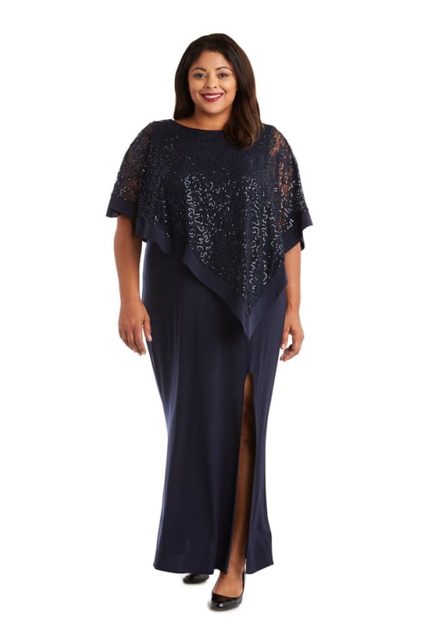 Sleeveless Sheer Lace Sequin Caplet Maxi Dress with Thigh Slit - Navy - Front