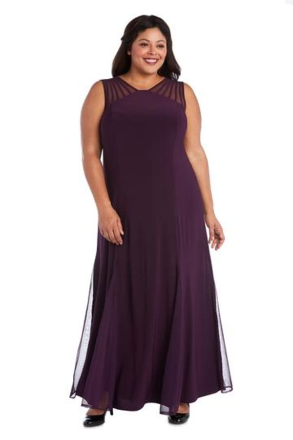 Sleeveless Maxi Dress with Sheer Cutouts - Plus - Plum - Front