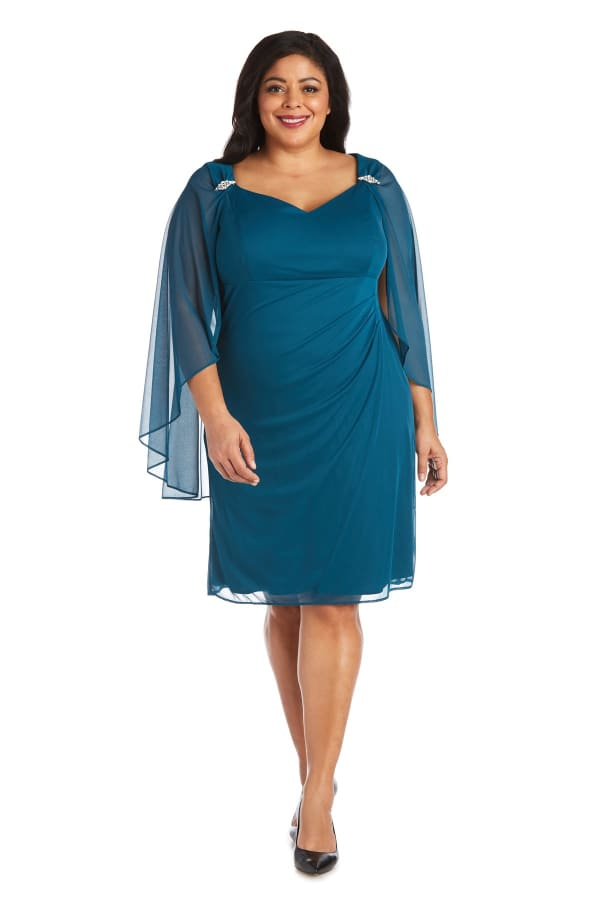 Short Empire Sweetheart Neck Dress with Sheer Cape - Plus