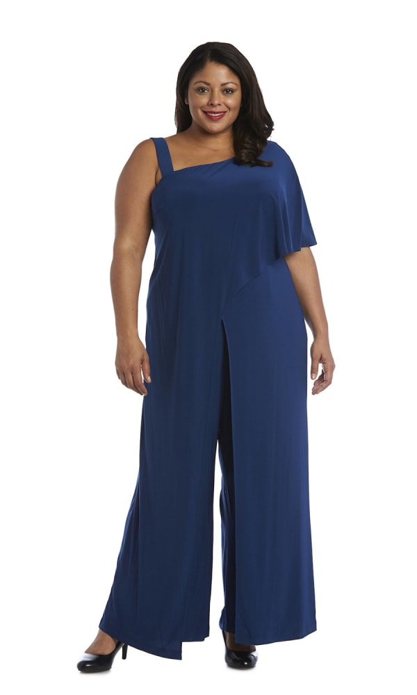 Asymmetric Jumpsuit with Overlay and Draped Sleeves - Plus - Peacock - Front