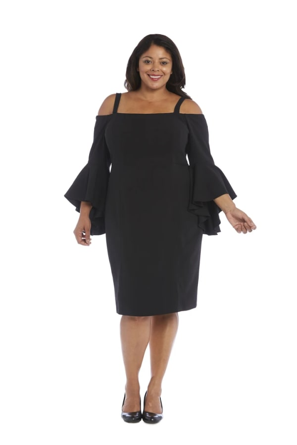 Plus Off-the-Shoulder Sheath Dress with Fluted Sleeves, Removable Straps and Structured Seams