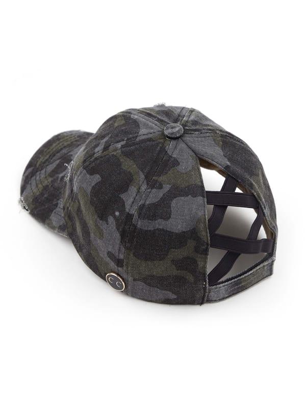 CC® Mask Compatible Criss Cross Cap - Black Camo - Front