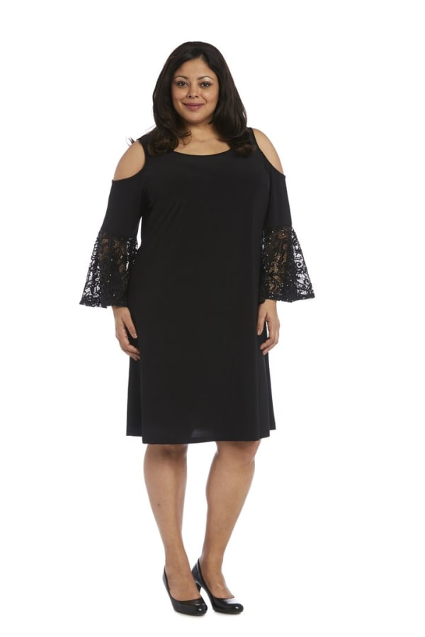 Plus Knee-Length Dress with Shoulder Cutouts and Lace Fluted Sleeves