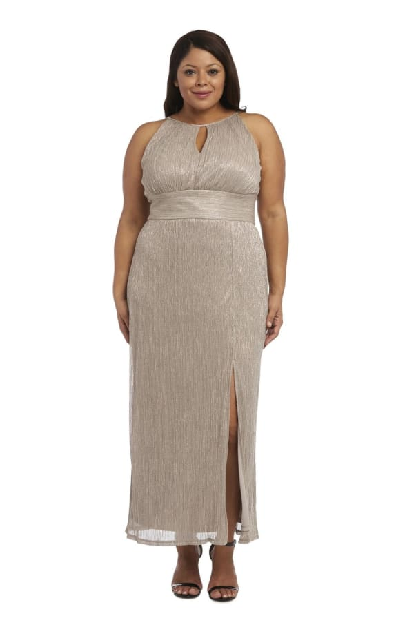 Plus Metallic Halter neck Gown with Thigh Split - Gold - Front