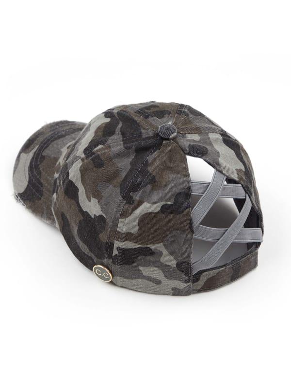 CC® Mask Compatible Criss Cross Cap - Grey Camo - Front