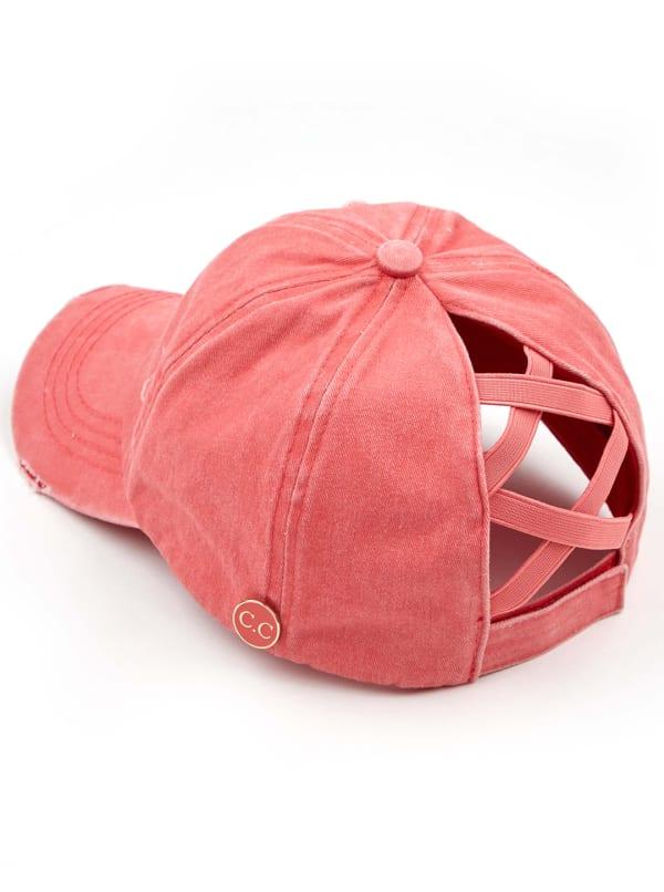 CC® Mask Compatible Criss Cross Cap - Coral - Front