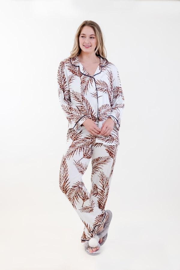 Brown Fleur Long Pajama Set - Ivory / Meerkat / Navy - Front