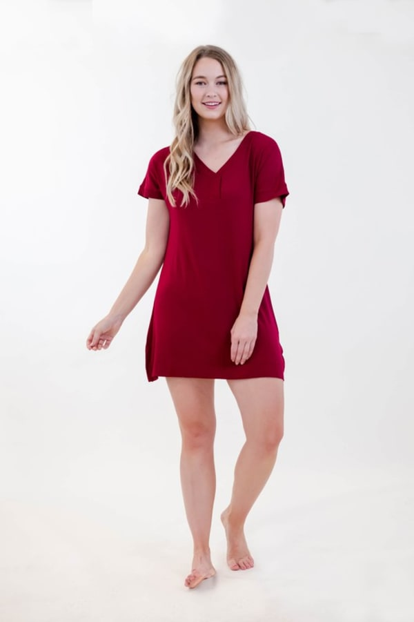 One Spirit Short Sleeve Shirt Dress - Rumba Red - Front