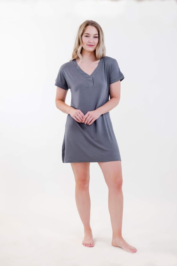 One Spirit Short Sleeve Shirt Dress -Smoked Pearl - Front