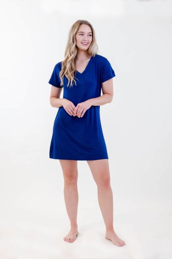 One Spirit Short Sleeve Shirt Dress - Ballad Blue - Front