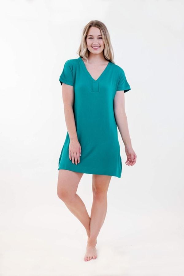 One Spirit Short Sleeve Shirt Dress - Blueprint - Front