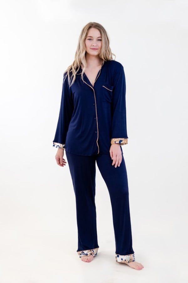 One Spirit Classic Long Pajama Set - Navy - Front