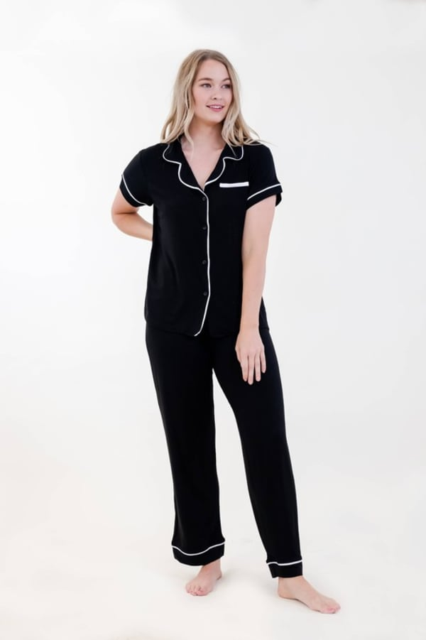 One Spirit Short Sleeve Pajama Set - Black - Front