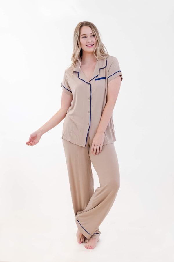 One Spirit Short Sleeve Pajama Set - Doeskin - Front