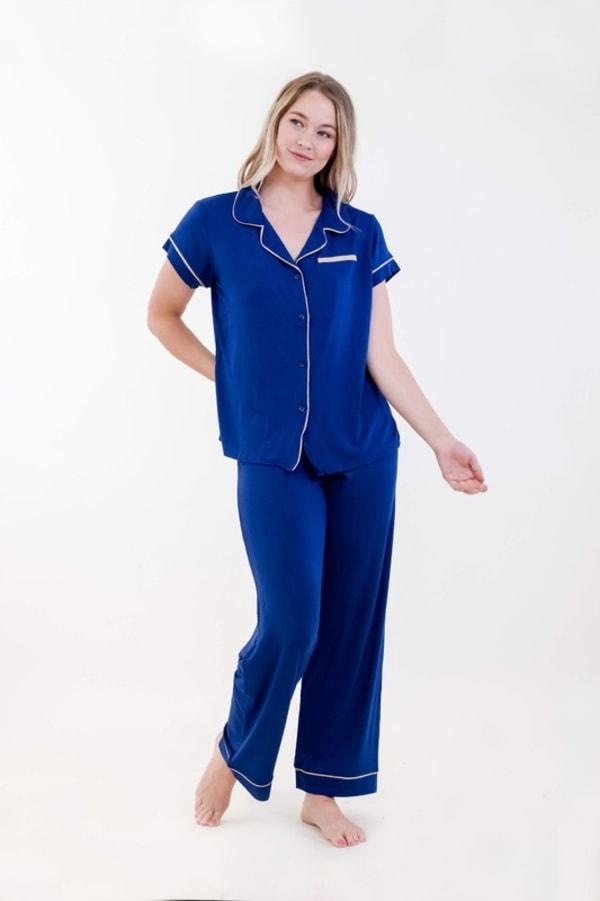 One Spirit Short Sleeve Pajama Set - Navy - Front