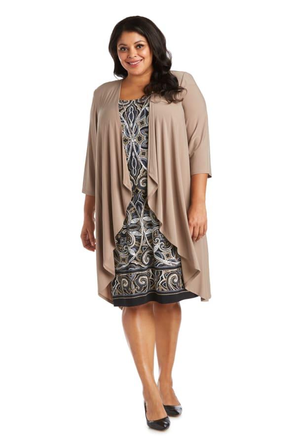 Two Piece Puff Print Jacket Dress - Plus - Camel / Black - Front