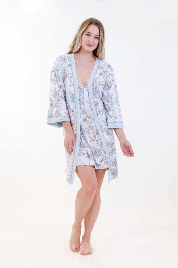 Floral Kimono Robe Set - Light Blue - Front