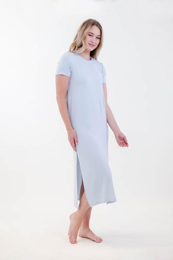One Spirit Side Slit Long Dress - Ballad Blue - Front