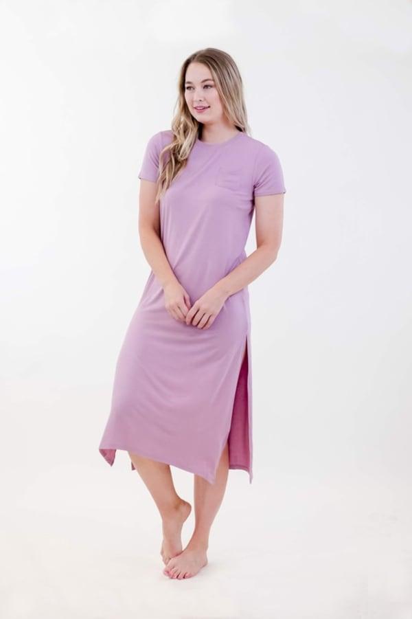 One Spirit Side Slit Long Dress - Dawn Pink - Front