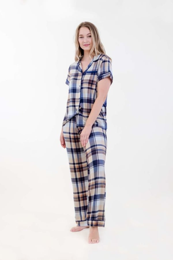 Brown Plaid Pajama Set - Navy / Tan / Blue - Front